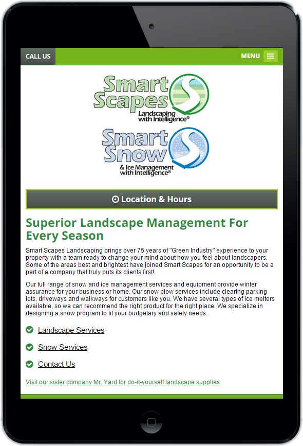 Smart Scapes Ohio Mobile Website